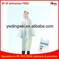 PE Disposable raincoat in cheap material for Adult and Children