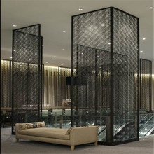 Foshan Custom Hotel Lobby Black Mirror Stainless Steel Room Divider Screen Decorative Wall Screen