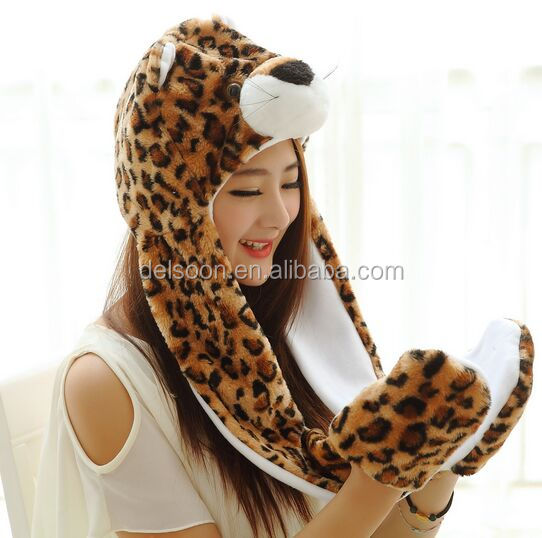 APLH029 New winter leopart panther animal plush hooded long scarf hat with gloves for party, Earflap cap