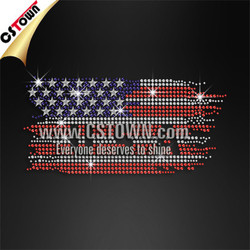 National flag iron on crystal rhinestone heat transfer