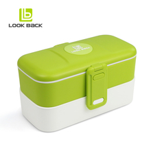 Two layers Christmas Gift Plastic Lunch Box