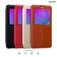 Original HOCO Case Fashion Leather Flip Cover View Smart Case Mobile Phone Bag For Samsung Galaxy Note 4