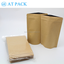 Wholesale 250g foil lined kraft food pouch zip lock 50 pcs in one pack