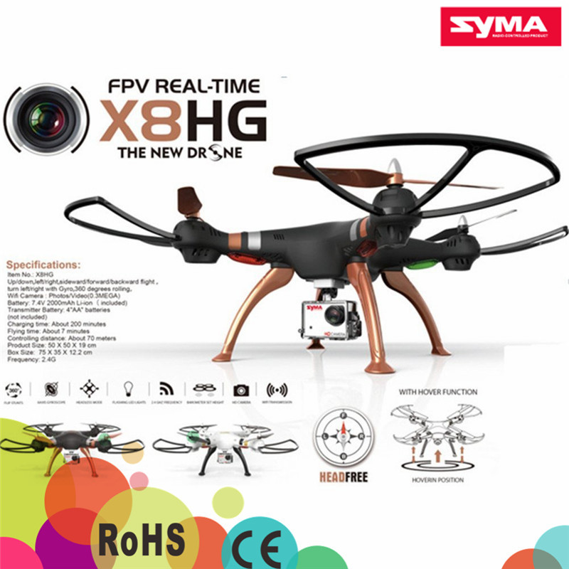 Syma New Products X8HG Drone with 6 Axis Gyro wifi fpv 8MP Camera Syma X8HG Quadcopter Professional