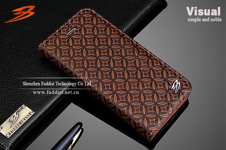 Fierre Shann Brand Unique Style Real Leather for iPhone 6 phone case