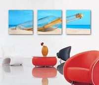 natural scenery Canvas Grouping 3 Panels Art drift bottle Oil Painting for home scenes