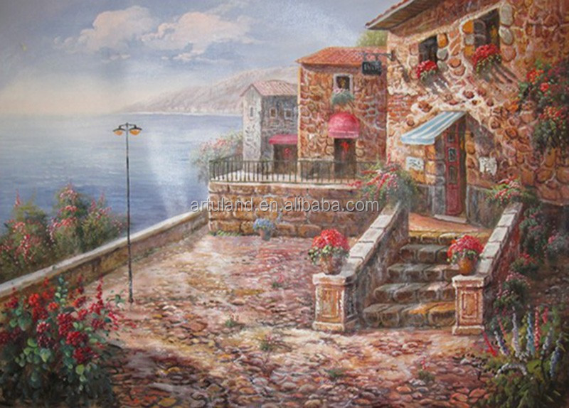 Peaceful garden coastal landscape oil painting on canvas for living room