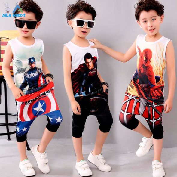 boys Captain America summer clothing sets kids spiderman clothes set