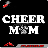Custom Paw Print Rhinestone Heat Transfers Iron on Cheer Mom Vinyl Transfer