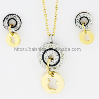 cute bear round shape double colour jewelry set stainless steel China supplier