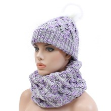 New fashion knit Pompom beanie hat infinity scarf set for women and kids circle loop scarves hat set