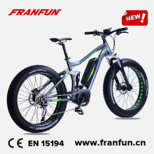 "Franfun 26"" fat tire electric bike bafang mid drive 48V 250W/ 350W full suspension snow e-bike"