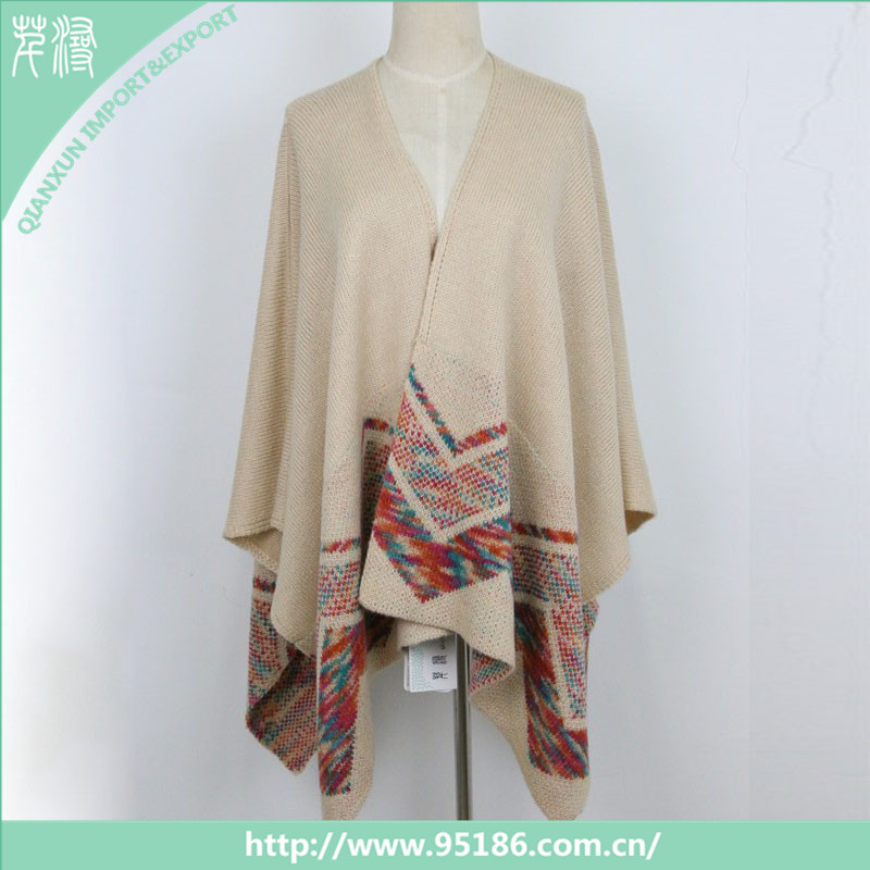 Hot sale 100% acrylic knit wholesale winter lady poncho scarf