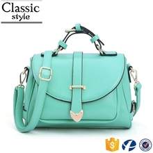 CR fast delivery customized style ladies shoulder bag with lock chain handle light blue long strap tote bag