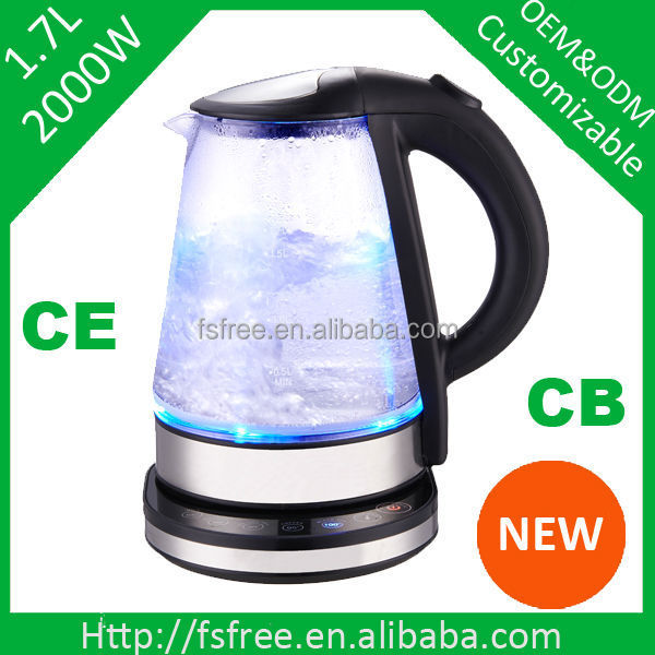 2014 Best selling Glass Electric Kettle kitchen electrical household appliance GS CE approval