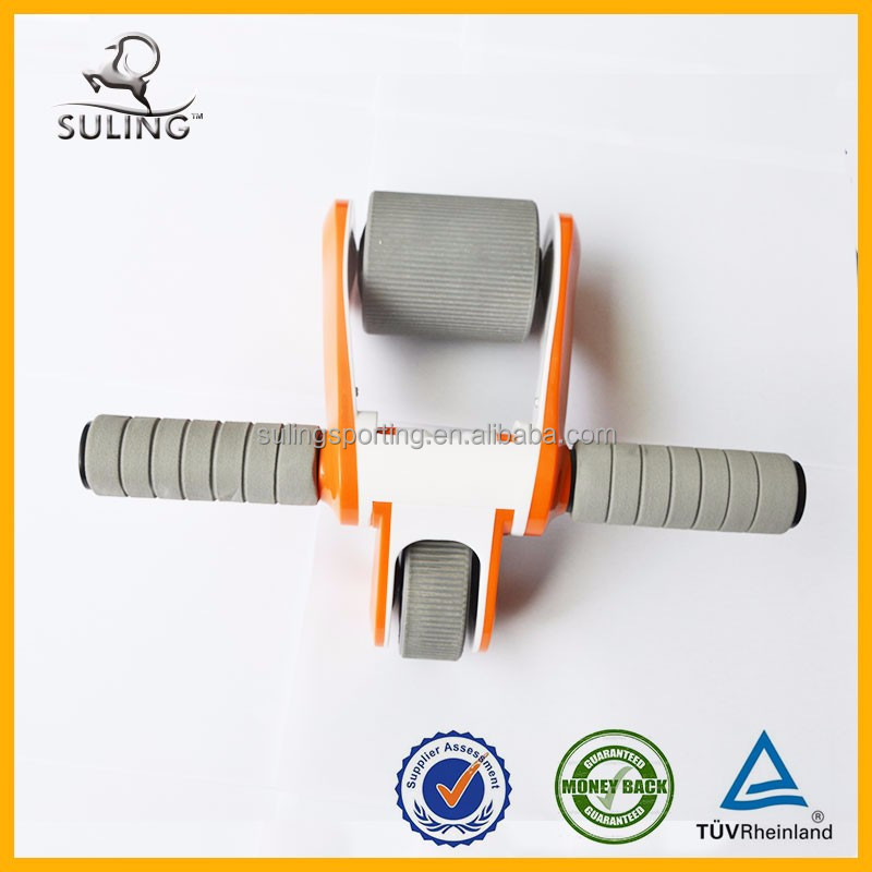 Newly style fitness training double wheels folding ab wheel roller