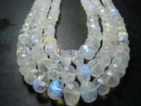 AAA High Quality Blue Fire Rainbow Moonstone Gemstone Faceted Roundelle Beads Wholesale Price