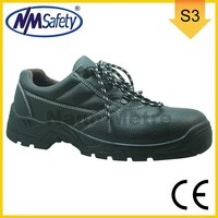 NMSAFETY S3 working shoes upper leather PU sole low cut safety shoes with steel toe cap