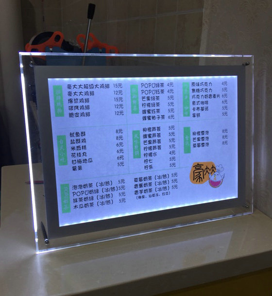 OEM A4 acrylic led sign for menu holder wholesale