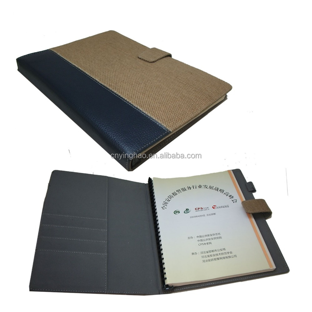 2016 Factory Custom PU leather notebook cover with front pocket