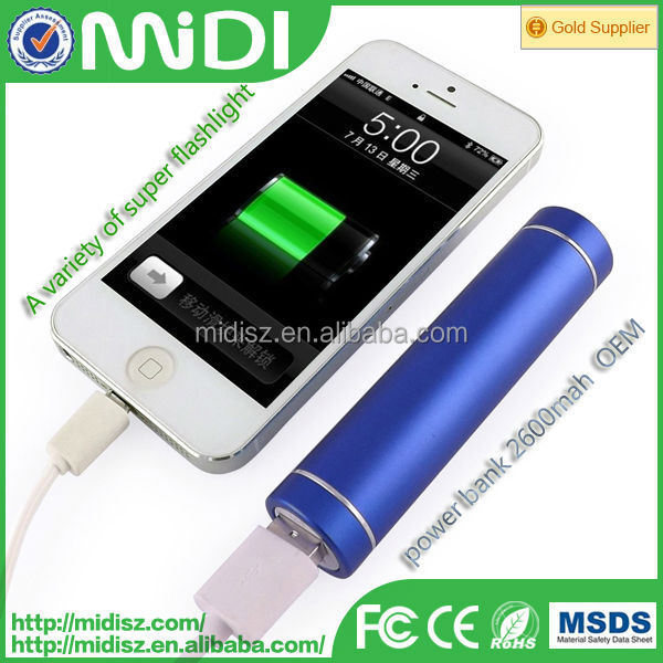 Round Power bank 2600mah slim with LED lighting mirror for Women