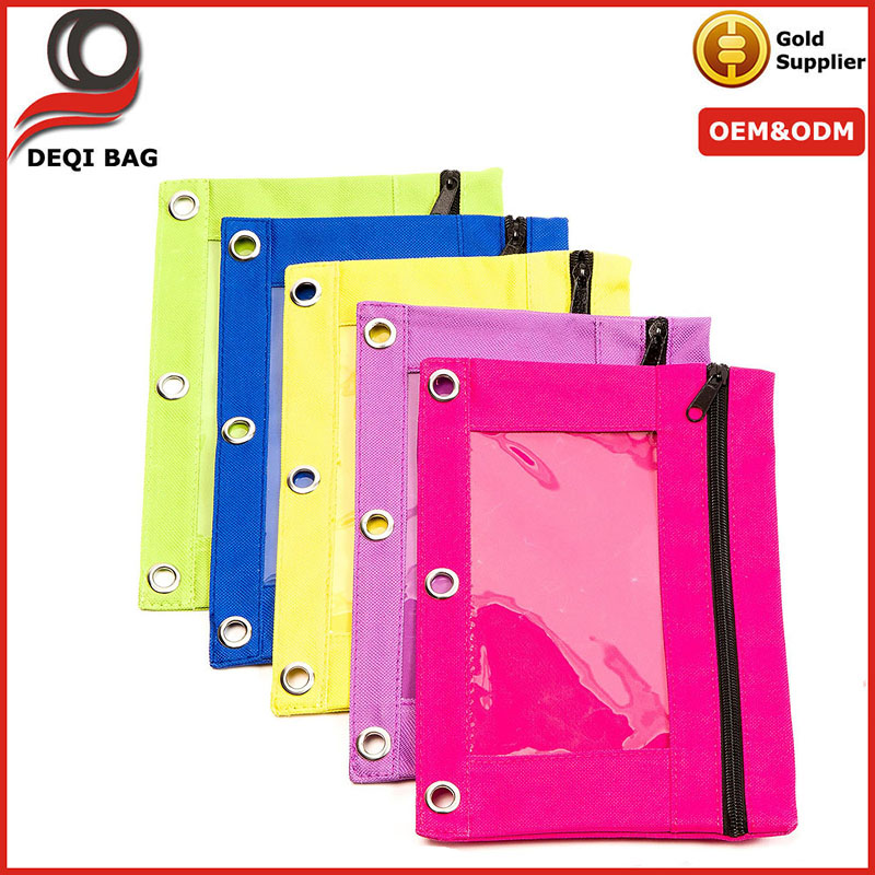 3-Ring Binder Zippered Pencil Pouch with Clear Window