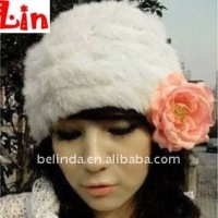 fashion lady white rabbit hair winter hat