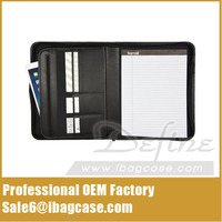 Best Selling Professional Black Leather Padfolio with Zippered Closure