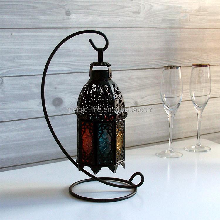 Outdoor Hanging Lanterns With Stand: Metal Lantern Tealight Candle Holder Large 50cm Bronze