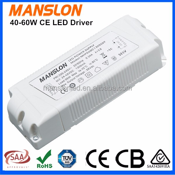 CE approved IP44 waterproof constant current 1300mA 1500mA 60W 70W HS code LED driver power supply