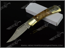 High Quality Wood Handle Pocket Knife Damascus Steel