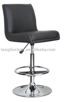 PU seat with metal frame swivel bar chair