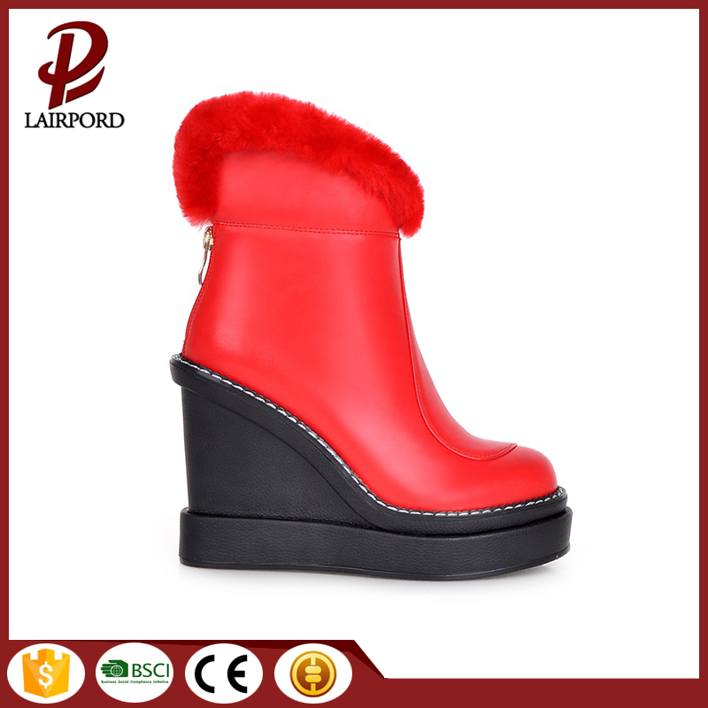2017 hot sale high quality wedge heel red ankle fur <strong>boots</strong> with platform
