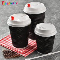 Custom Printed Black Paper Coffee Cups Double Wall Custom Logo Coffee Cups for Hot Drink Office Brand Tea Cup