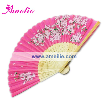 AF1421 Pink flower printed hand fan for sale