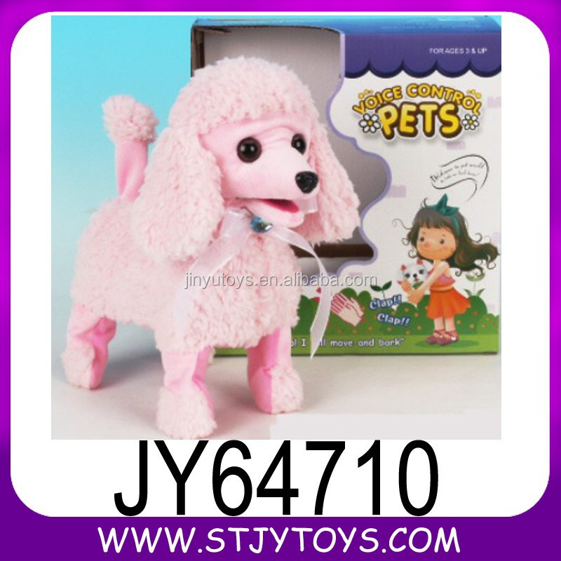 Pink color voice control electronic pet plush dog toy