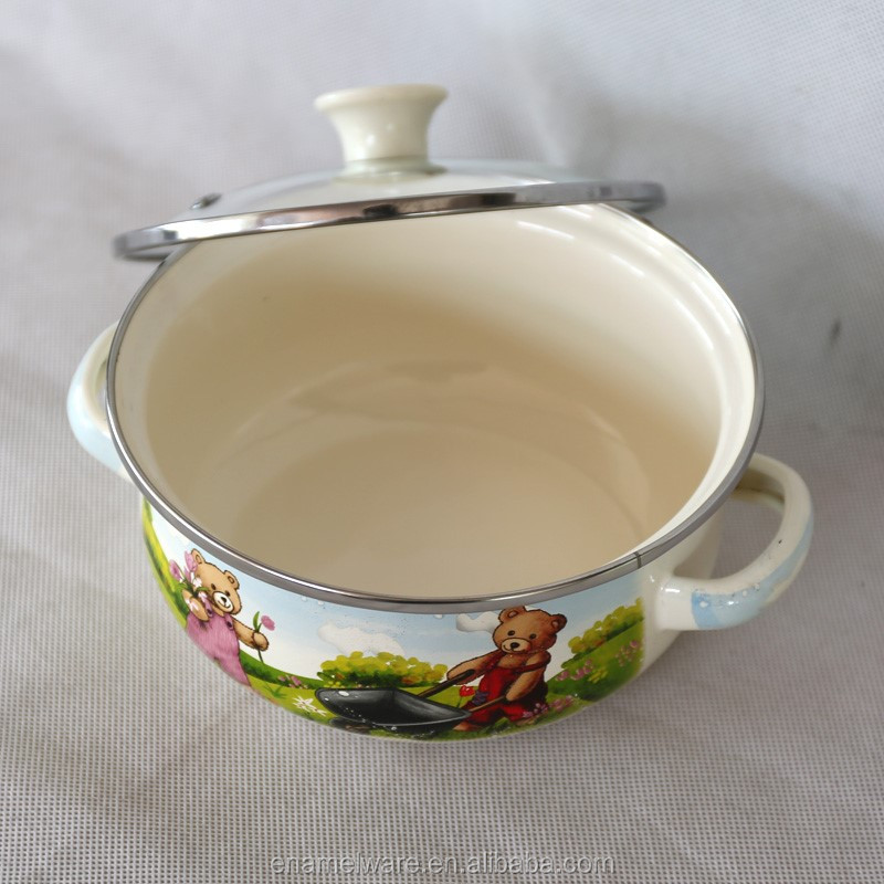 factory supply enamel pot set glass lid kitchen cookware porcelain clad casserole white color 3SETS enamel pot 007