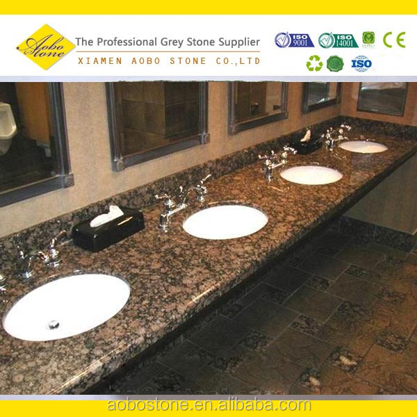 Baltic brown granite prefab bathroom countertop, Brown Color commercial bathroom sink countertop