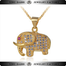 Daihe Gold Plated Full CZ Pave Elephant <strong>Necklace</strong>