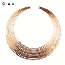 Fashion Dancing Jewelry Price 18kgp Egypt Custom Gold Metal Lines Shiny Headwear Statement Necklace Choker