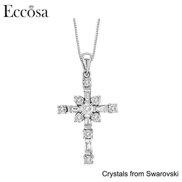 Premium New Cross Women Necklace Made with Crystals from Swarovski Fashion Stone Jewelry Pendant for Girl
