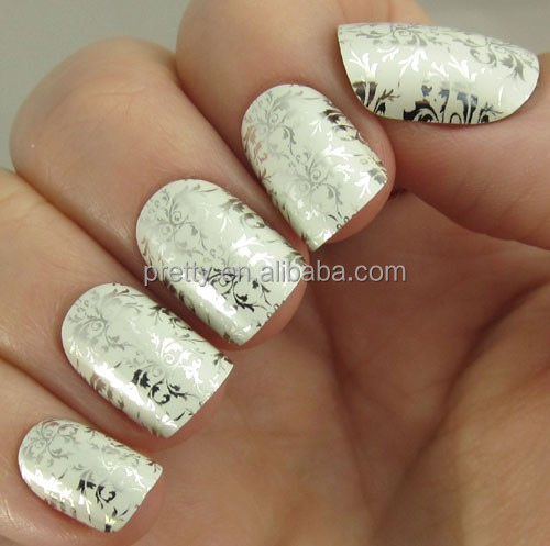 White and silver scroll nails chic pretty woman false nails tips beauty products wholesale nails