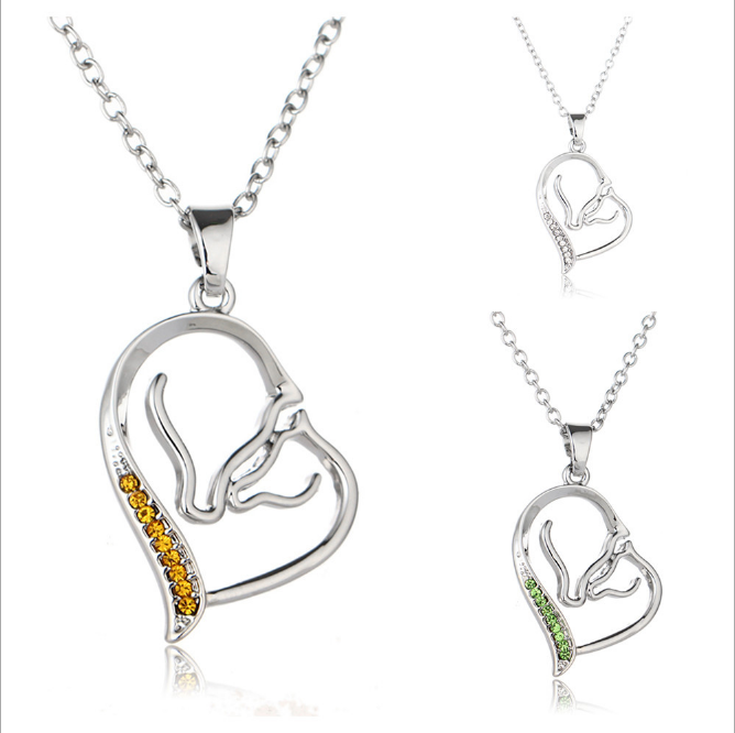 Mother Child's Love Heart Pendant Necklace Horses love crystal necklace for Women