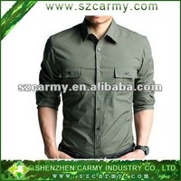 olive green long Sleeve army style shirt, military shirt:
