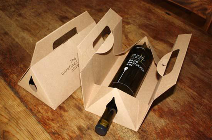 Custom made beverage wine packaging bag and box Kraft packing box with ribbon