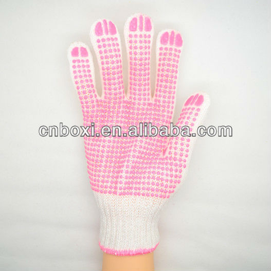 High quality 100% polyester gloves+one side pvc dotted palm and warn gloves