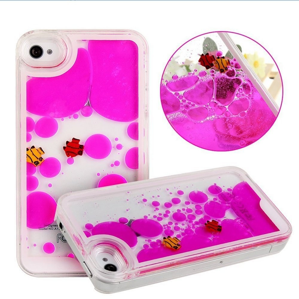 Factory price cool moving 3d cartoon mobile phone case liquid floating fish duck smart phone case