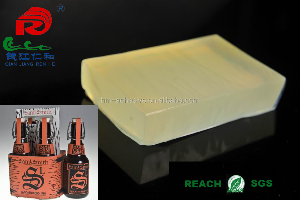hot melt adhesive label adhesion for glass beer bottle and packaging box