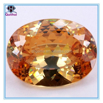 Charming oval shaped champagne loose cubic zirconia