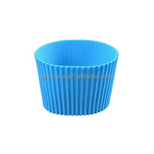 Round colorful Eco-friendly silicone rubber cup sleeve, hot selling heat-resistant and anti-slip rubber silicone cup holder